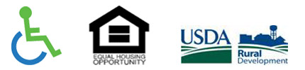 Wheel Chair graphic, Equal Housing Opportunity Logo, USDA Rural Development Logo