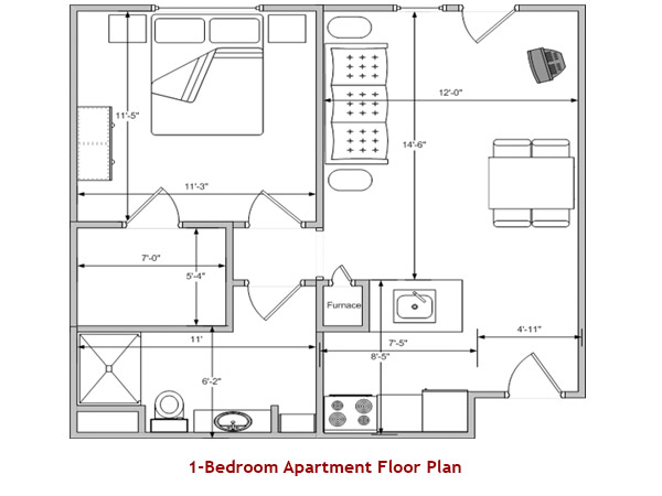 1-Bedroom Apartment Floor Plan