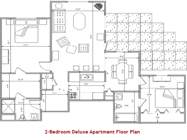 2-Bedroom Deluxe Apartment Floor Plan