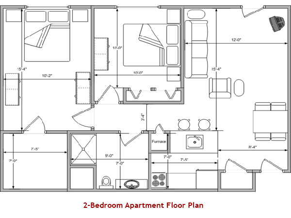 2-Bedroom Apartment Floor Plan