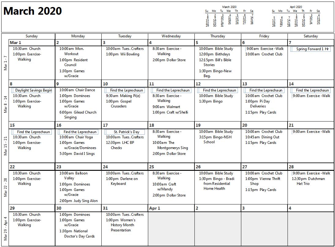 March 2020 Calendar Image